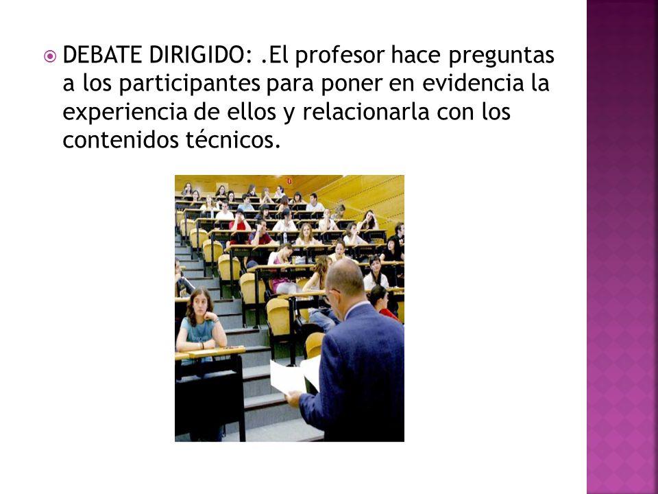 DEBATE DIRIGIDO: .El profesor hace preguntas a los participantes para poner en evidencia la experiencia de ellos y relacionarla con los contenidos técnicos.