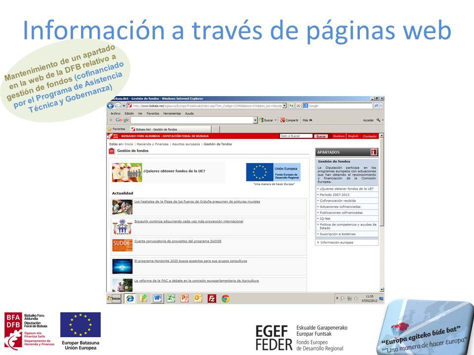 Información a través de páginas web