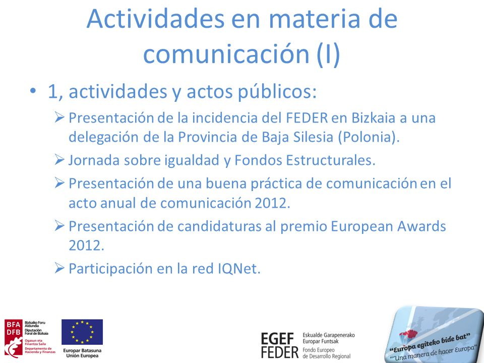 Actividades en materia de comunicación (I)