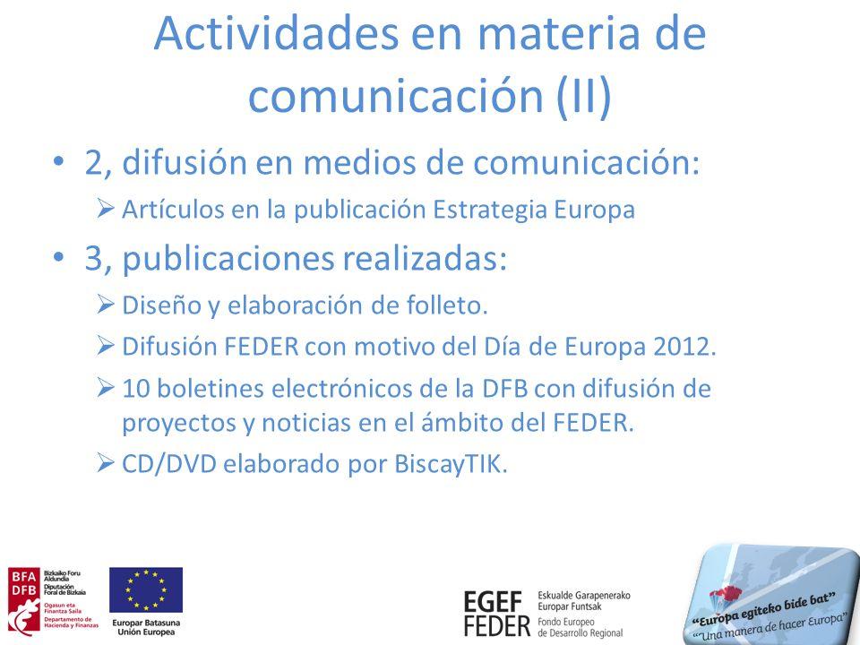 Actividades en materia de comunicación (II)