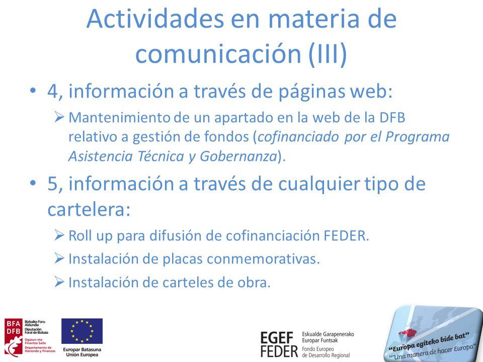 Actividades en materia de comunicación (III)