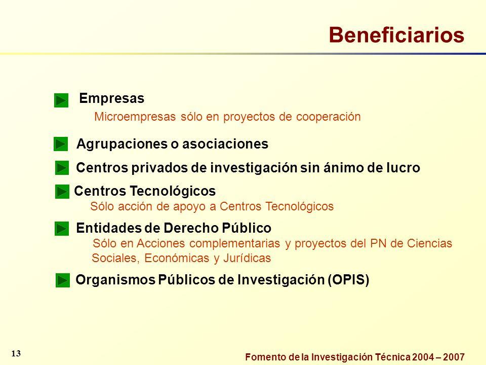 Beneficiarios Empresas Agrupaciones o asociaciones