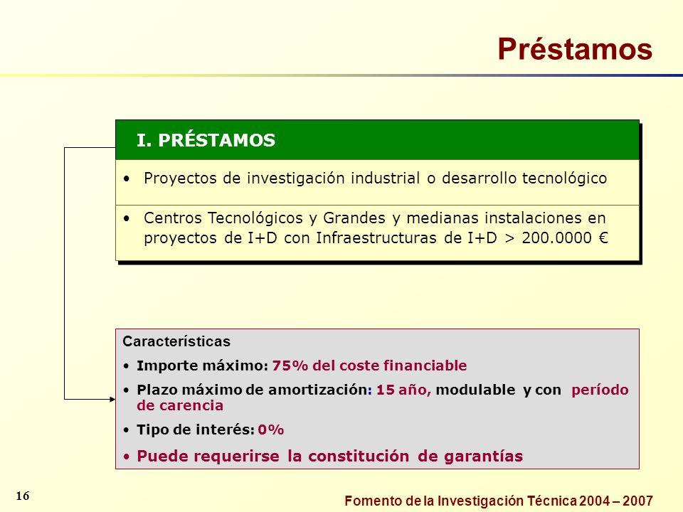 Préstamos I. PRÉSTAMOS. Proyectos de investigación industrial o desarrollo tecnológico.
