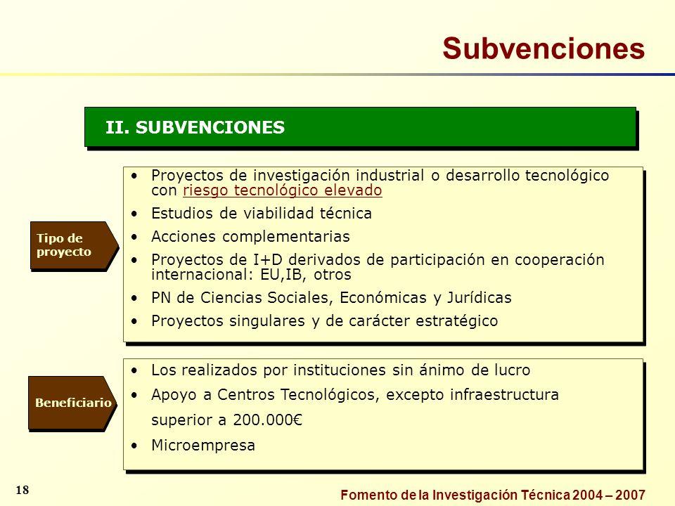 Subvenciones II. SUBVENCIONES
