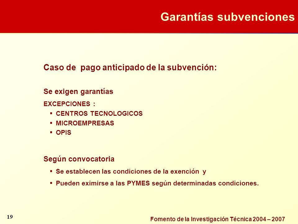 Garantías subvenciones