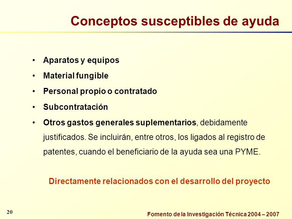 Conceptos susceptibles de ayuda