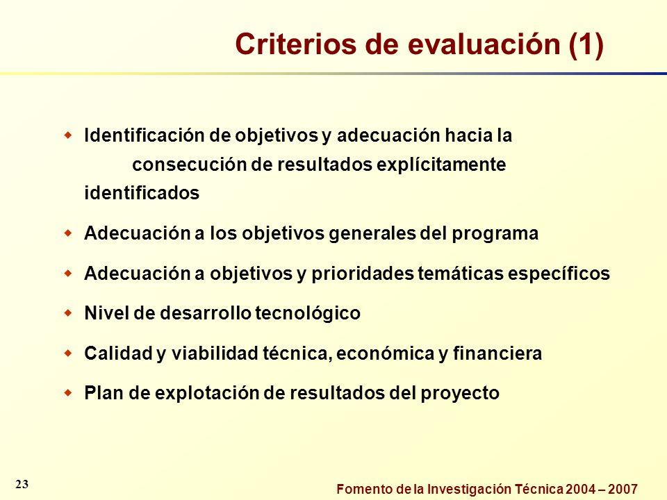 Criterios de evaluación (1)