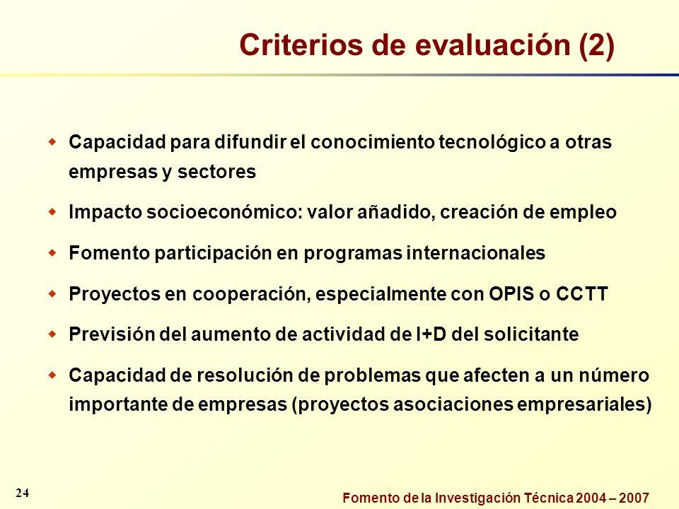 Criterios de evaluación (2)