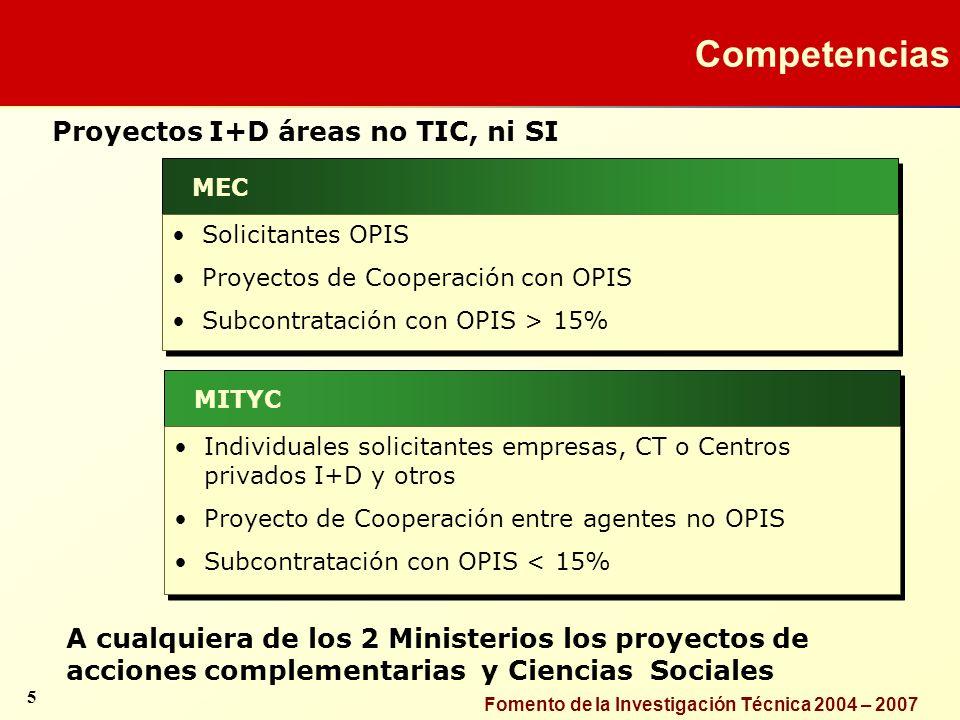 Competencias Proyectos I+D áreas no TIC, ni SI
