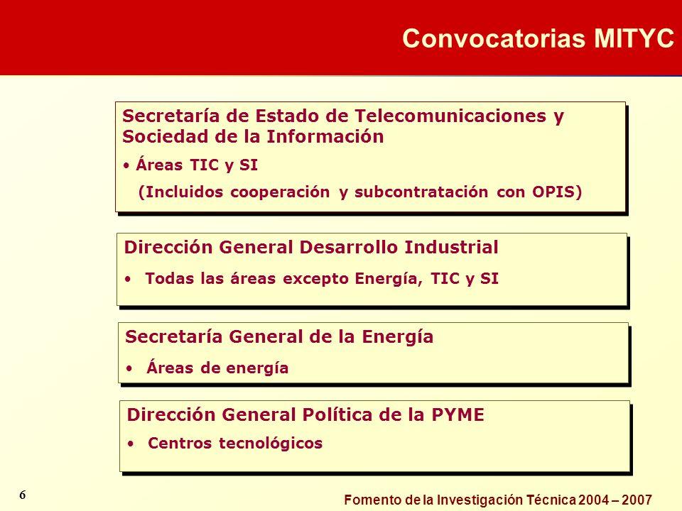 Convocatorias MITYC Secretaría de Estado de Telecomunicaciones y Sociedad de la Información. Áreas TIC y SI.