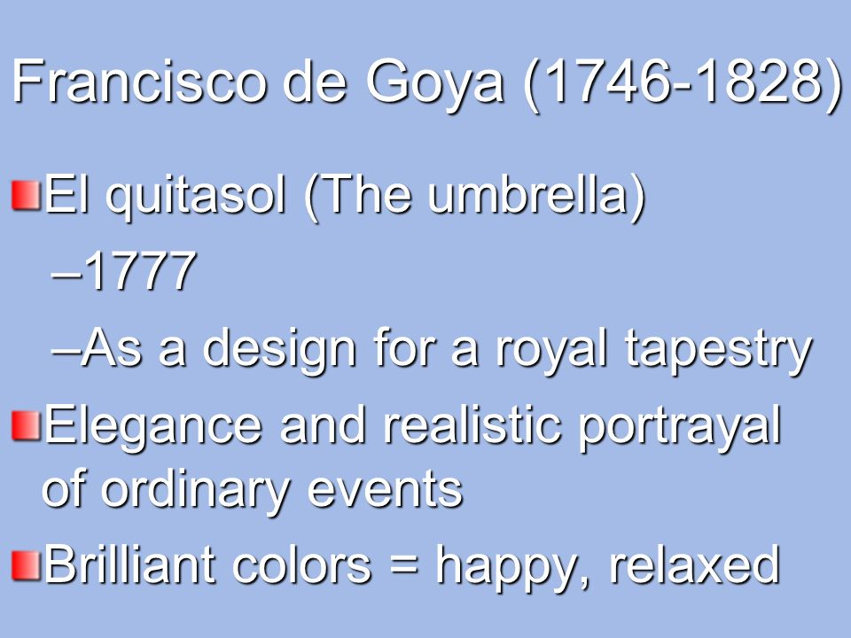 Francisco de Goya (1746-1828) El quitasol (The umbrella) 1777