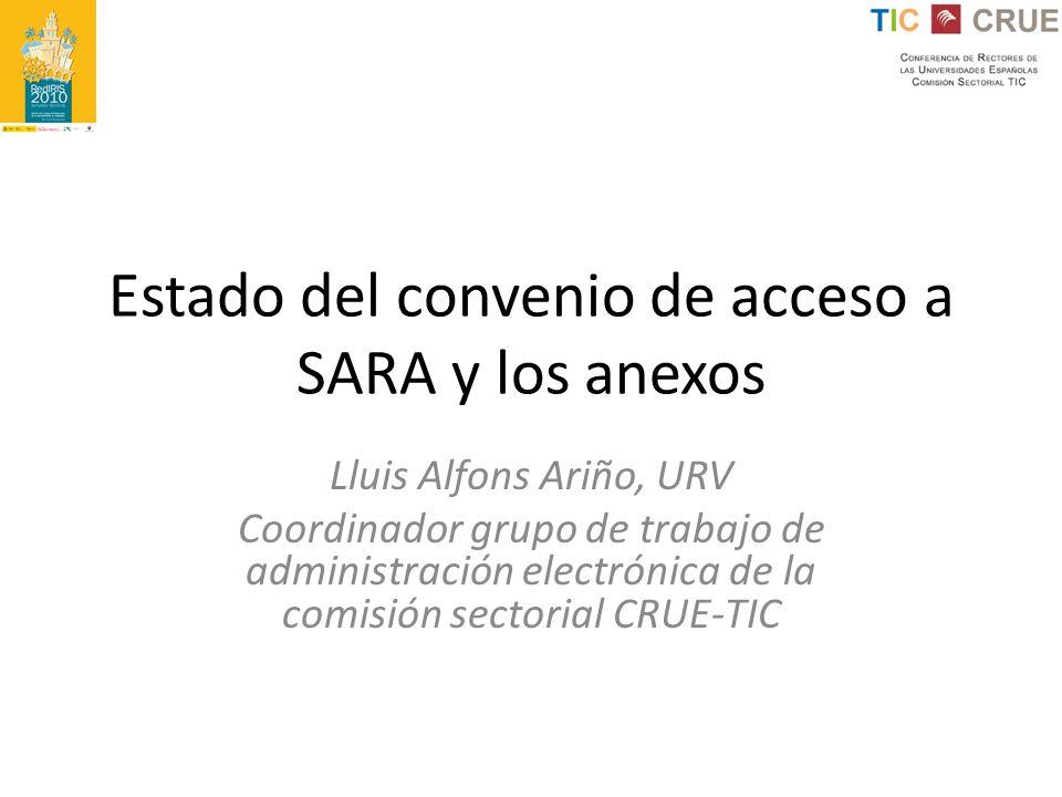 Estado del convenio de acceso a SARA y los anexos