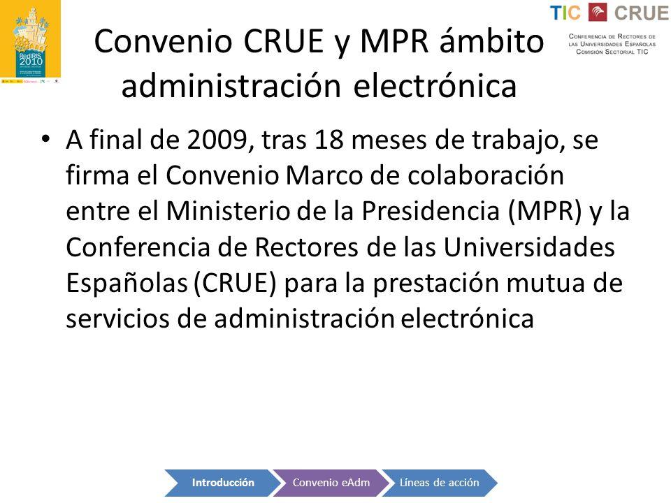 Convenio CRUE y MPR ámbito administración electrónica