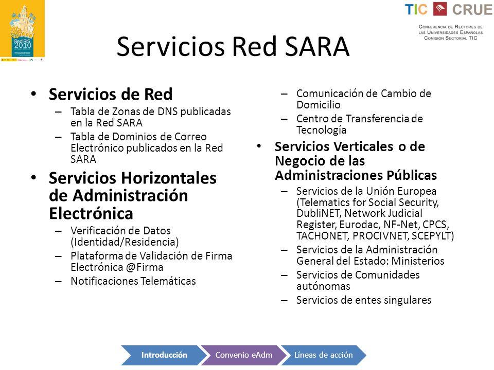 Servicios Red SARA Servicios de Red
