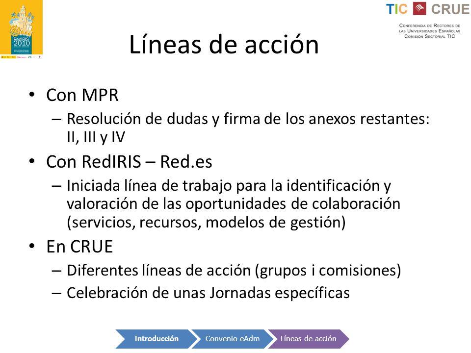 Líneas de acción Con MPR Con RedIRIS – Red.es En CRUE