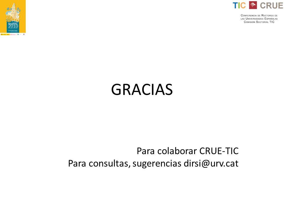 Para colaborar CRUE-TIC Para consultas, sugerencias dirsi@urv.cat