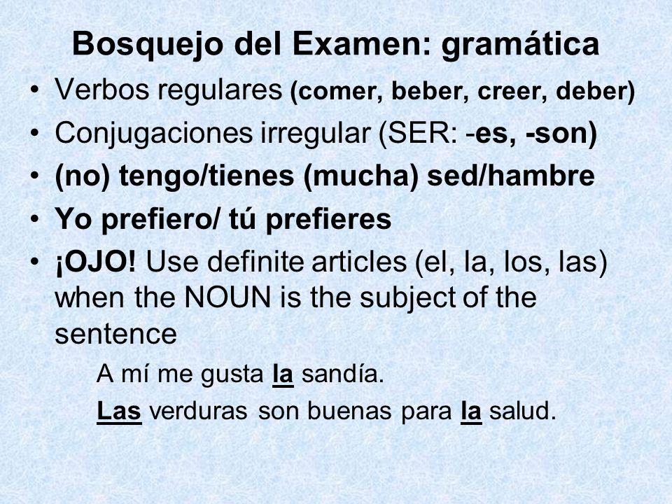 Bosquejo del Examen: gramática