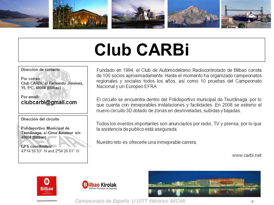 Club CARBiDirección de contacto Por correo Club CARBi, c/ Fernando Jiménez, 15, 5ºC. 48004 (Bilbao) Por email: clubcarbi@gmail.com.