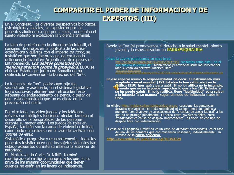 COMPARTIR EL PODER DE INFORMACION Y DE EXPERTOS. (III)