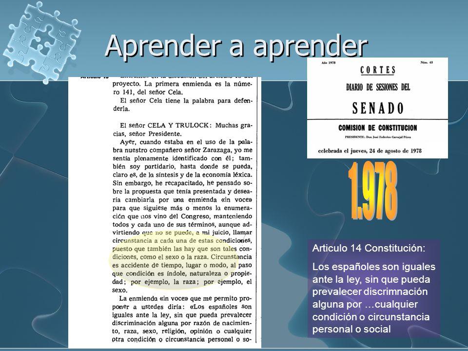 Aprender a aprender 1.978 Articulo 14 Constitución: