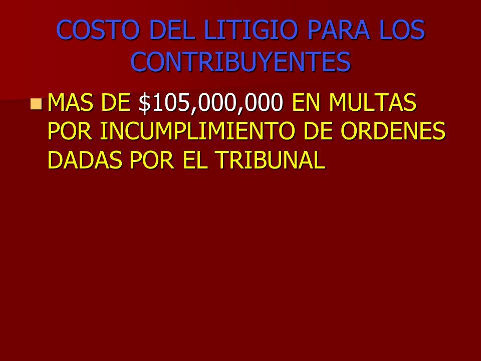 COSTO DEL LITIGIO PARA LOS CONTRIBUYENTES