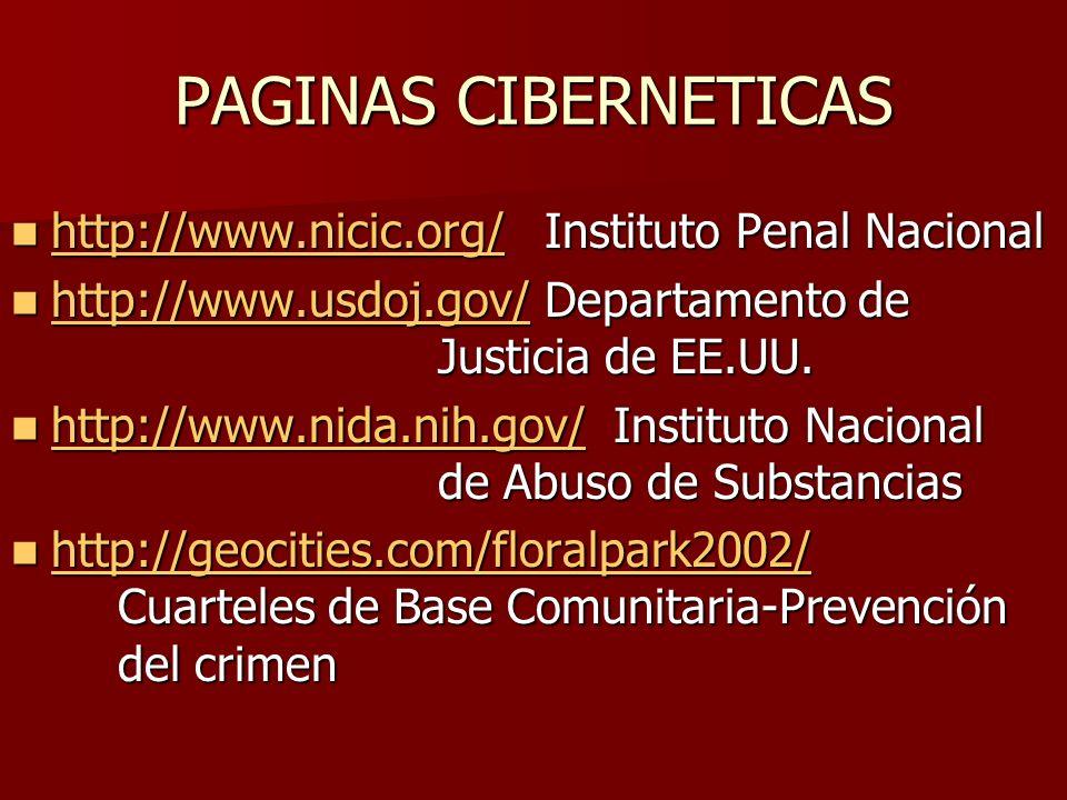 PAGINAS CIBERNETICAS http://www.nicic.org/ Instituto Penal Nacional