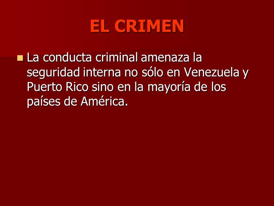 EL CRIMEN La conducta criminal amenaza la seguridad interna no sólo en Venezuela y Puerto Rico sino en la mayoría de los países de América.