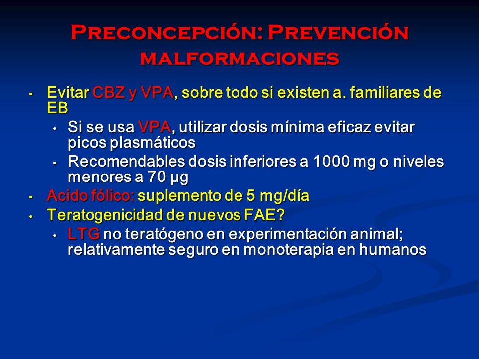Preconcepción: Prevención malformaciones