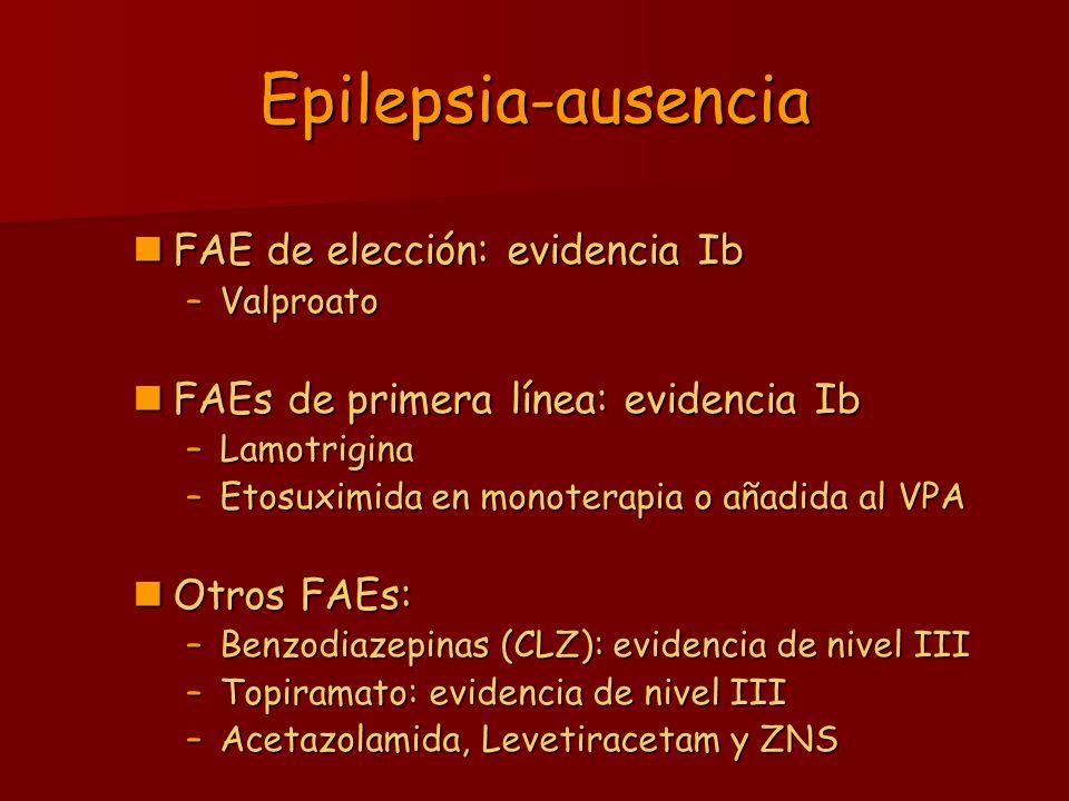 Epilepsia-ausencia FAE de elección: evidencia Ib