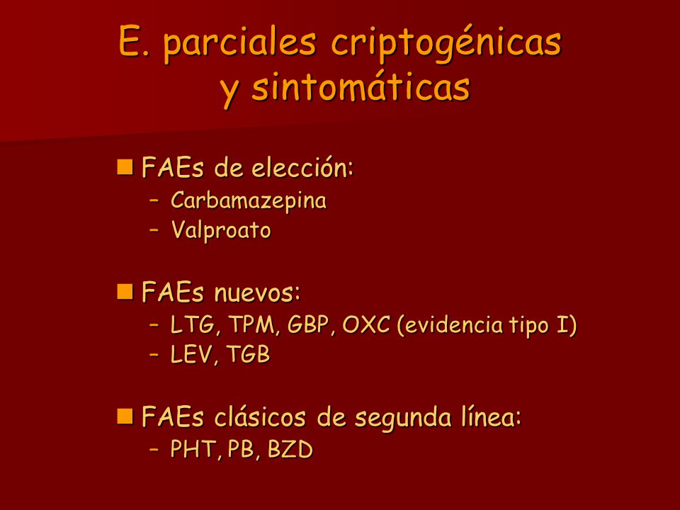 E. parciales criptogénicas y sintomáticas