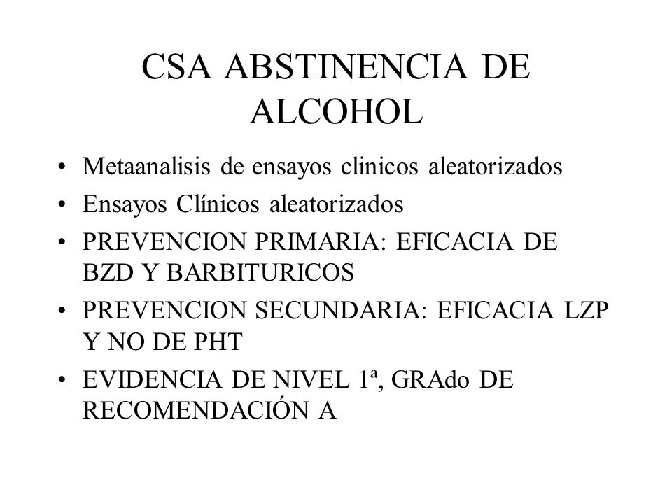 CSA ABSTINENCIA DE ALCOHOL
