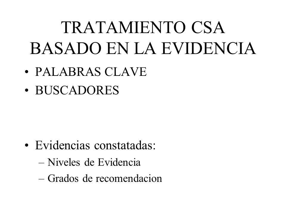 TRATAMIENTO CSA BASADO EN LA EVIDENCIA