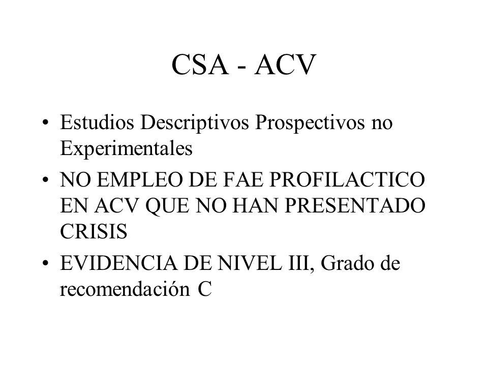 CSA - ACV Estudios Descriptivos Prospectivos no Experimentales