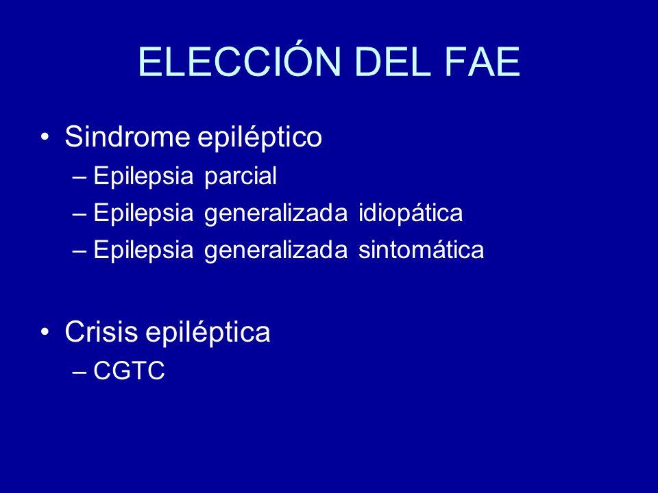 ELECCIÓN DEL FAE Sindrome epiléptico Crisis epiléptica