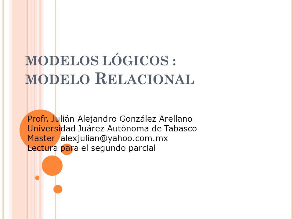 MODELOS LÓGICOS : Modelo Relacional
