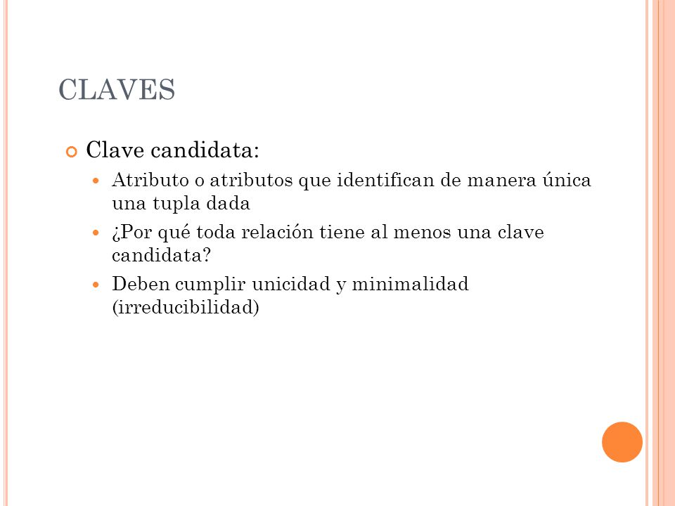 CLAVES Clave candidata: