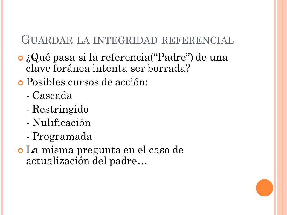 Guardar la integridad referencial