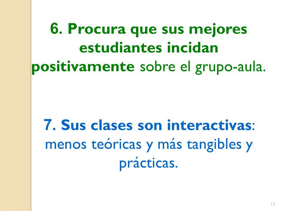 6. Procura que sus mejores estudiantes incidan positivamente sobre el grupo-aula.