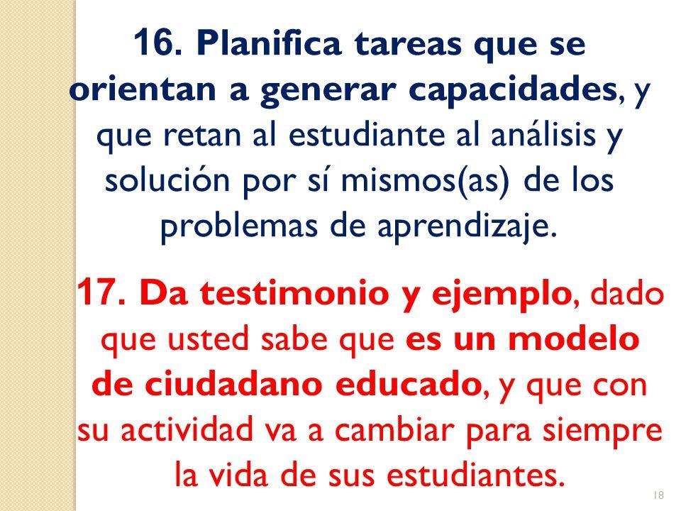 16. Planifica tareas que se orientan a generar capacidades, y que retan al estudiante al análisis y solución por sí mismos(as) de los problemas de aprendizaje.