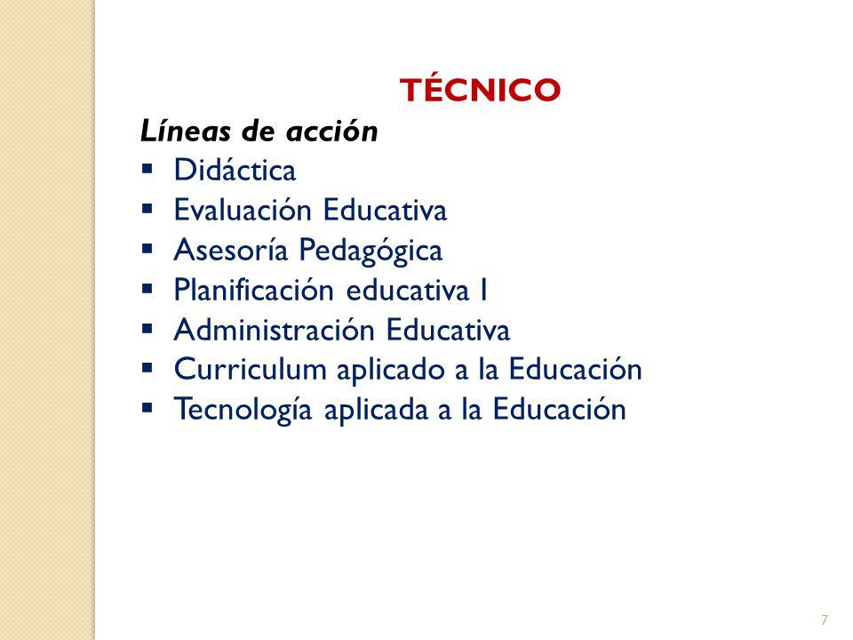 TÉCNICO Líneas de acción. Didáctica. Evaluación Educativa. Asesoría Pedagógica. Planificación educativa I.