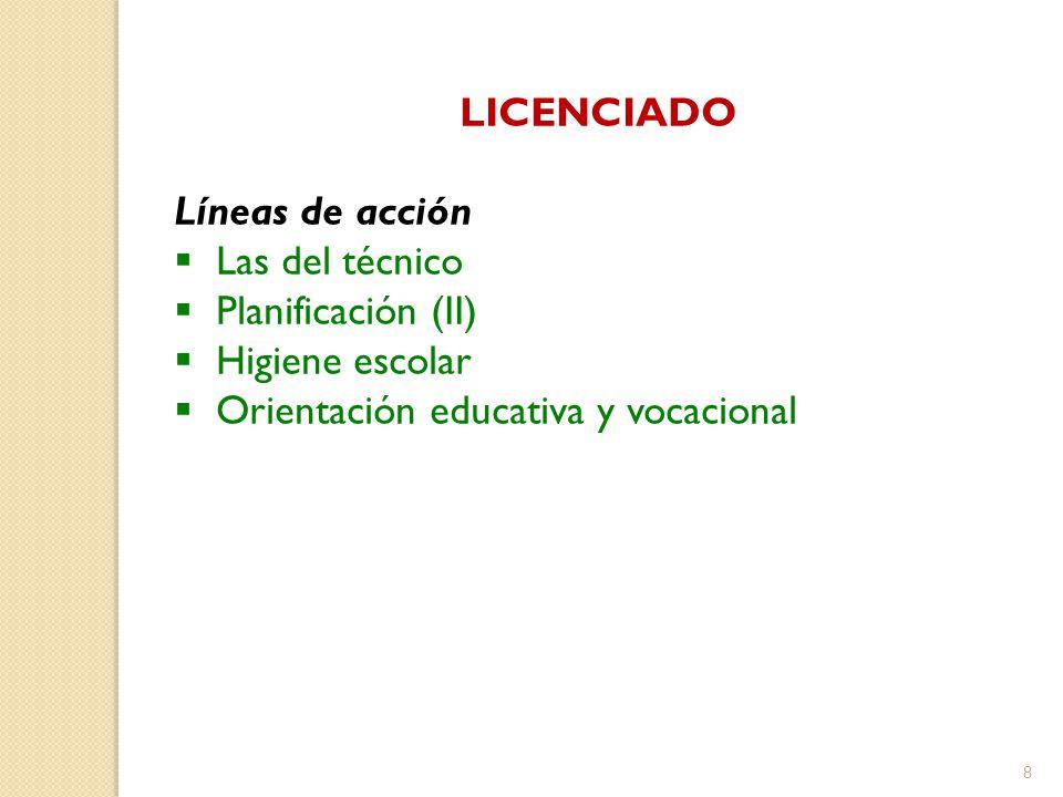 LICENCIADO Líneas de acción. Las del técnico. Planificación (II) Higiene escolar.