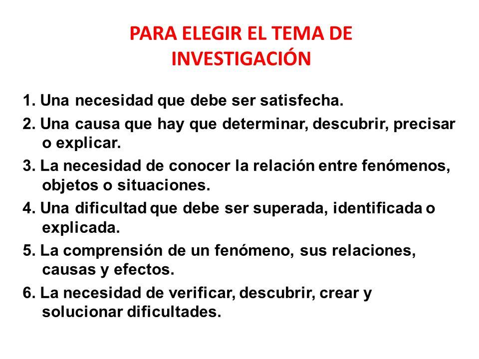 PARA ELEGIR EL TEMA DE INVESTIGACIÓN