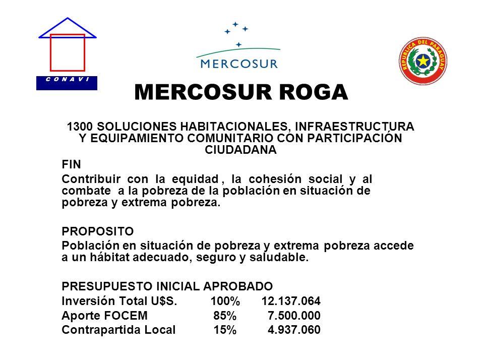 C O N A V IMERCOSUR ROGA. 1300 SOLUCIONES HABITACIONALES, INFRAESTRUCTURA Y EQUIPAMIENTO COMUNITARIO CON PARTICIPACIÓN CIUDADANA.