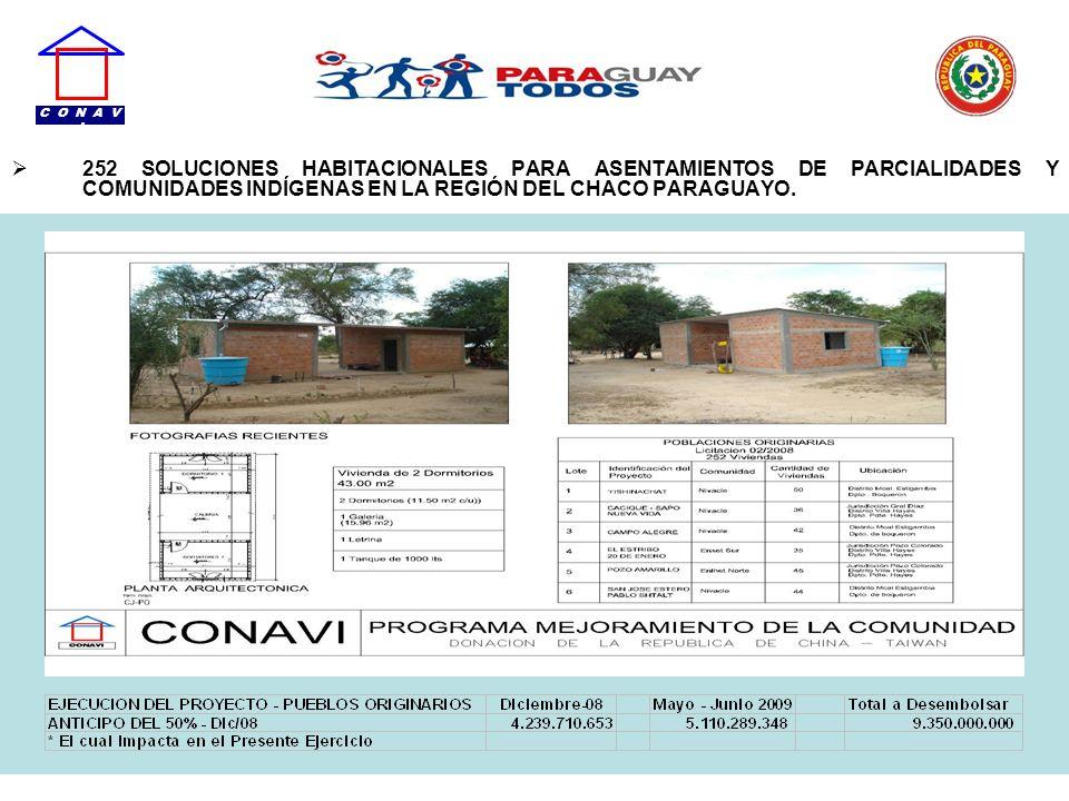 C O N A V I252 SOLUCIONES HABITACIONALES PARA ASENTAMIENTOS DE PARCIALIDADES Y COMUNIDADES INDÍGENAS EN LA REGIÓN DEL CHACO PARAGUAYO.