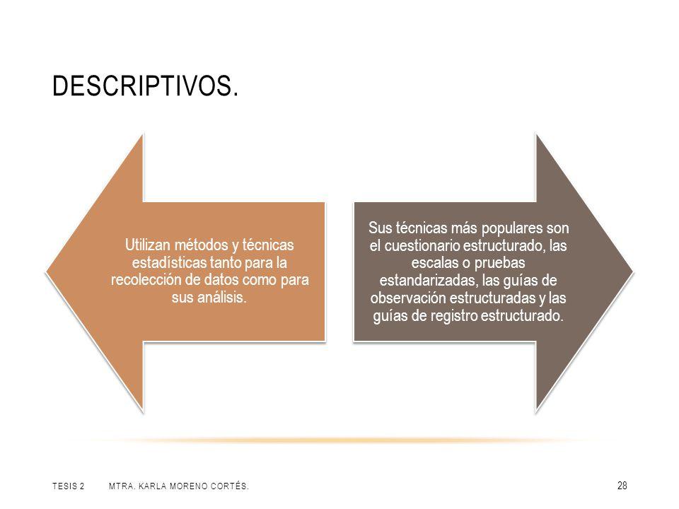 Descriptivos. Utilizan métodos y técnicas estadísticas tanto para la recolección de datos como para sus análisis.