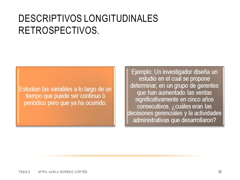 Descriptivos longitudinales retrospectivos.
