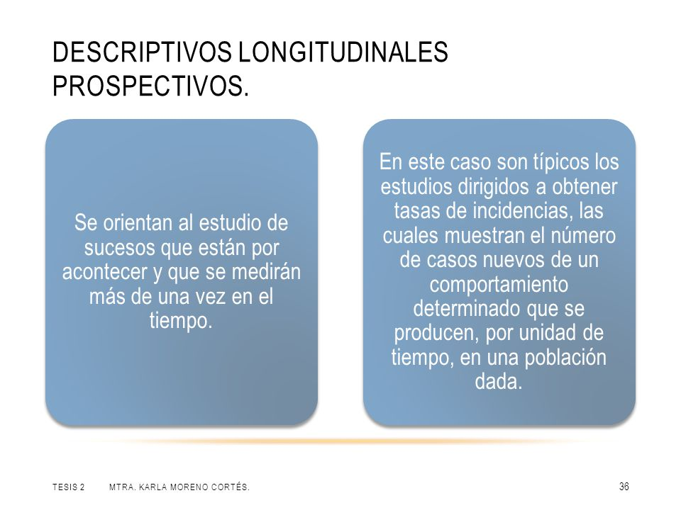 Descriptivos longitudinales prospectivos.