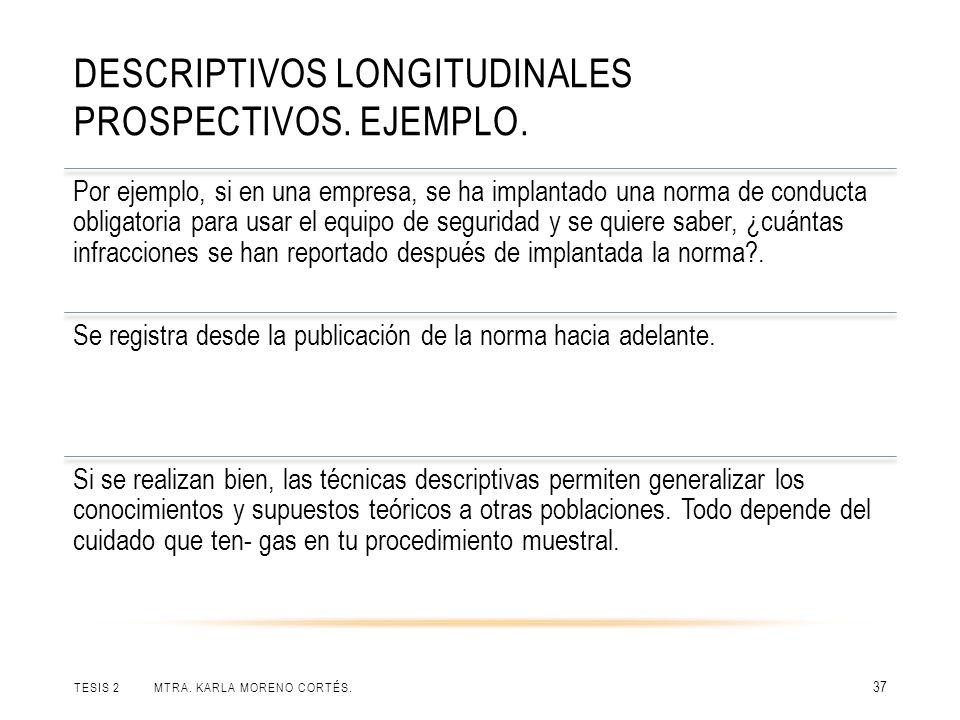 Descriptivos longitudinales prospectivos. Ejemplo.