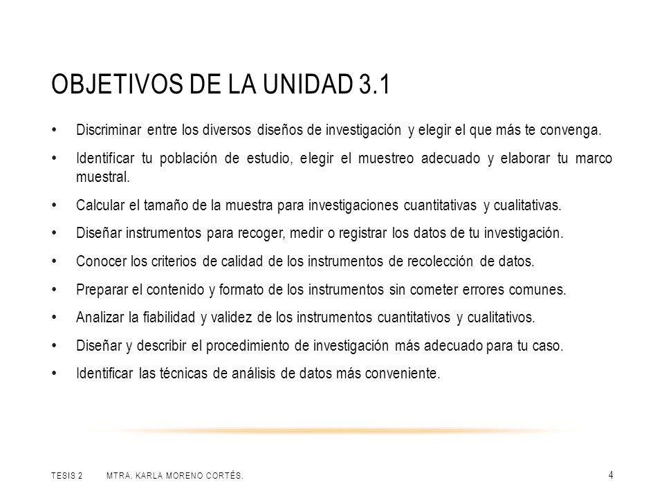 Objetivos de la unidad 3.1 Discriminar entre los diversos diseños de investigación y elegir el que más te convenga.
