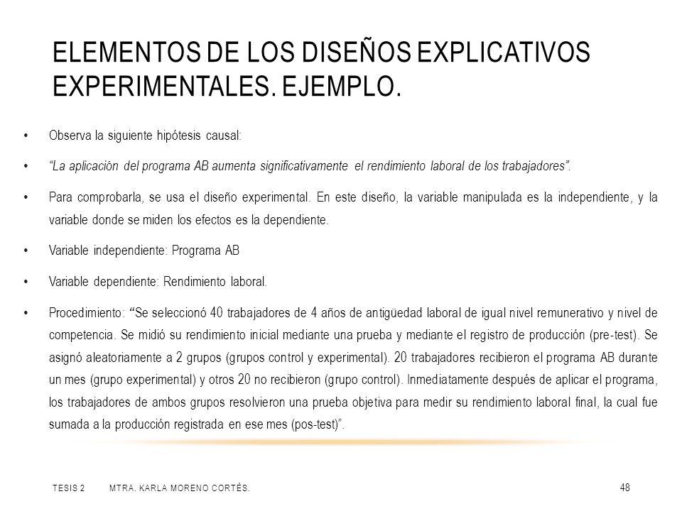 Elementos de los diseños explicativos experimentales. Ejemplo.